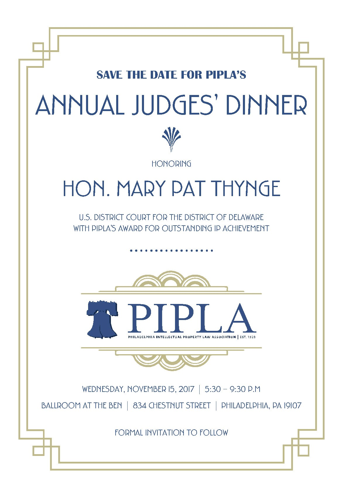 Save the date pipla annual judges dinner november 15 2017 pipla2017judgesdinner stopboris Image collections